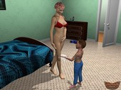 Animated Incest - Mother catches son trying on her underwear