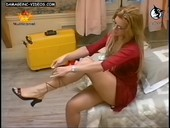 Gisela Barreto puts her shoes and upskirts